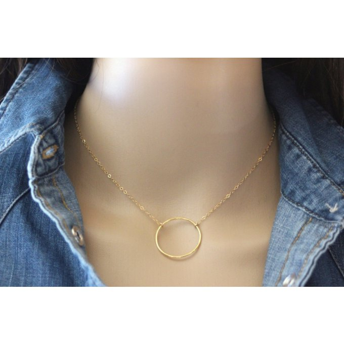 Collier or Gold Filled pendentif cercle 24mm