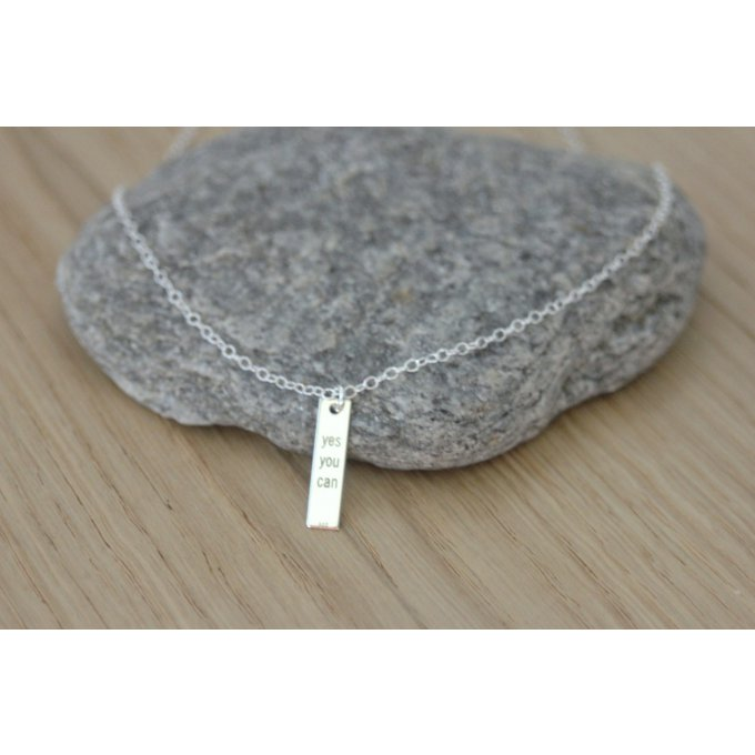 Collier argent médaille rectangle ~ Yes you can ~