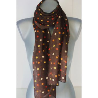 Foulard en mousseline crêpe marron à pois orange