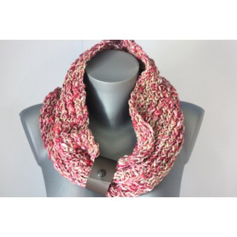 snood tricoté main rose et beige
