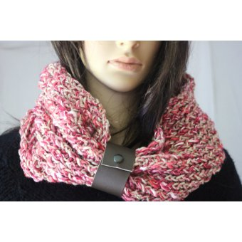 Snood laie rose et beige