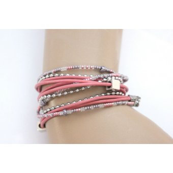 Bracelet wrap multi-rangs cuir rose