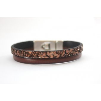Bracelet marron en cuir et paillettes fermoir by EmmaFashionStyle