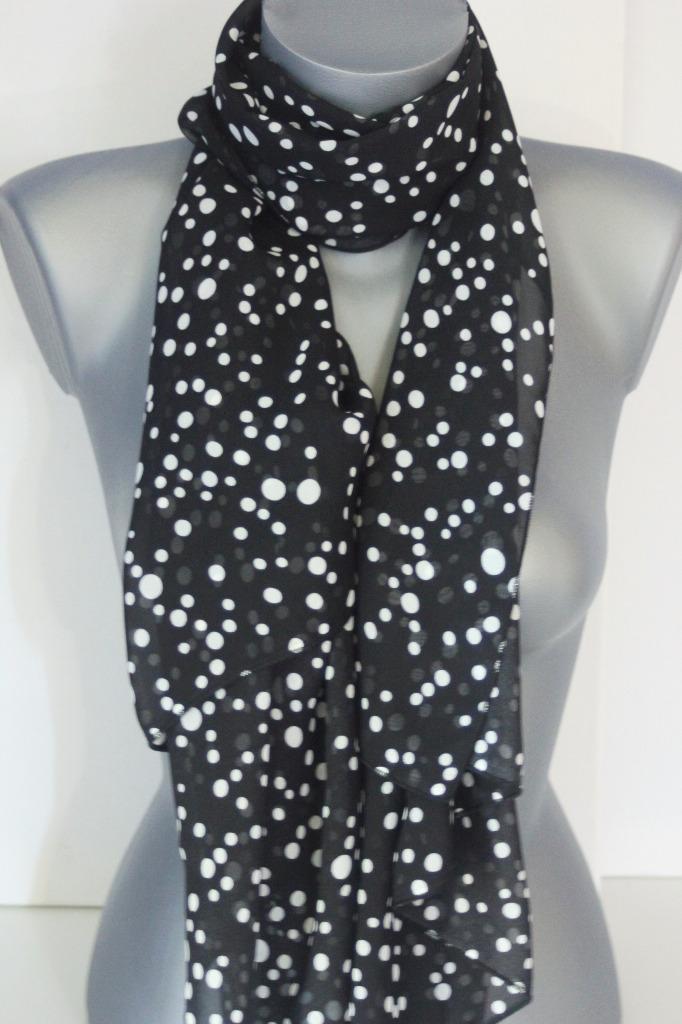 Foulard noir imprimé pois blanc - emmafashionstyle.fr 20878671def