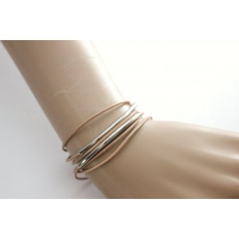 bracelet wrap en cuir naturel marron clair