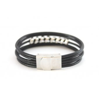 Bracelet cuir noir homme by EmmaFashionStyle