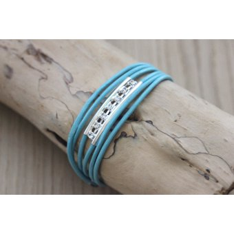 Bracelet cuir turquoise perle tube double & strass