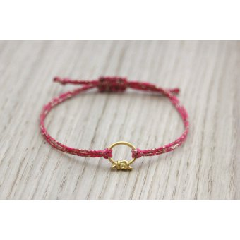Bracelet cordon rose et breloque doré by EmmaFashionStyle