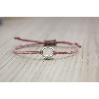 bracelet cordon rose breloque argent massif by EmmaFashionStyle