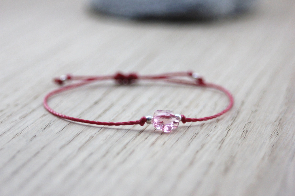 Bracelet cordon fleur en cristal swarovski rose - Emmafashionstyle