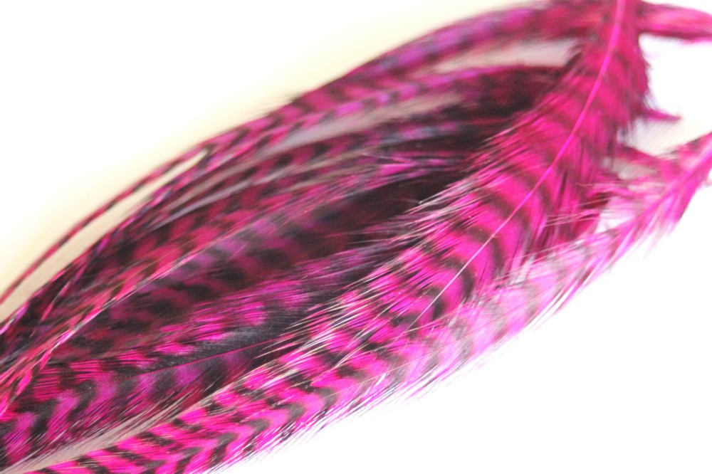 Plume de cheveux rose fushia grizzly 13 à16 cm
