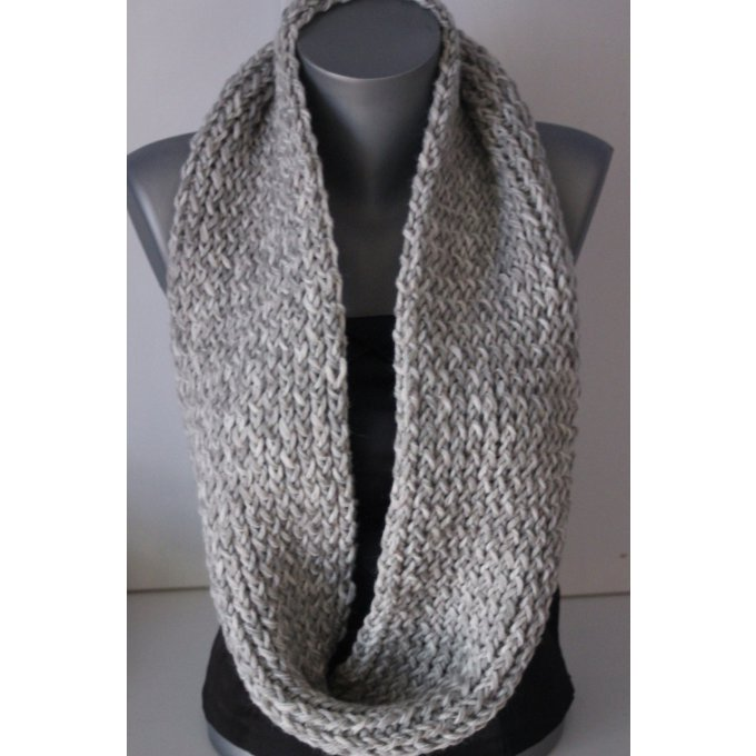 snood 2 tours en laine grise