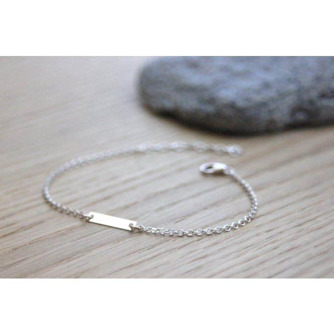 Bracelet argent médaille rectangle minimaliste