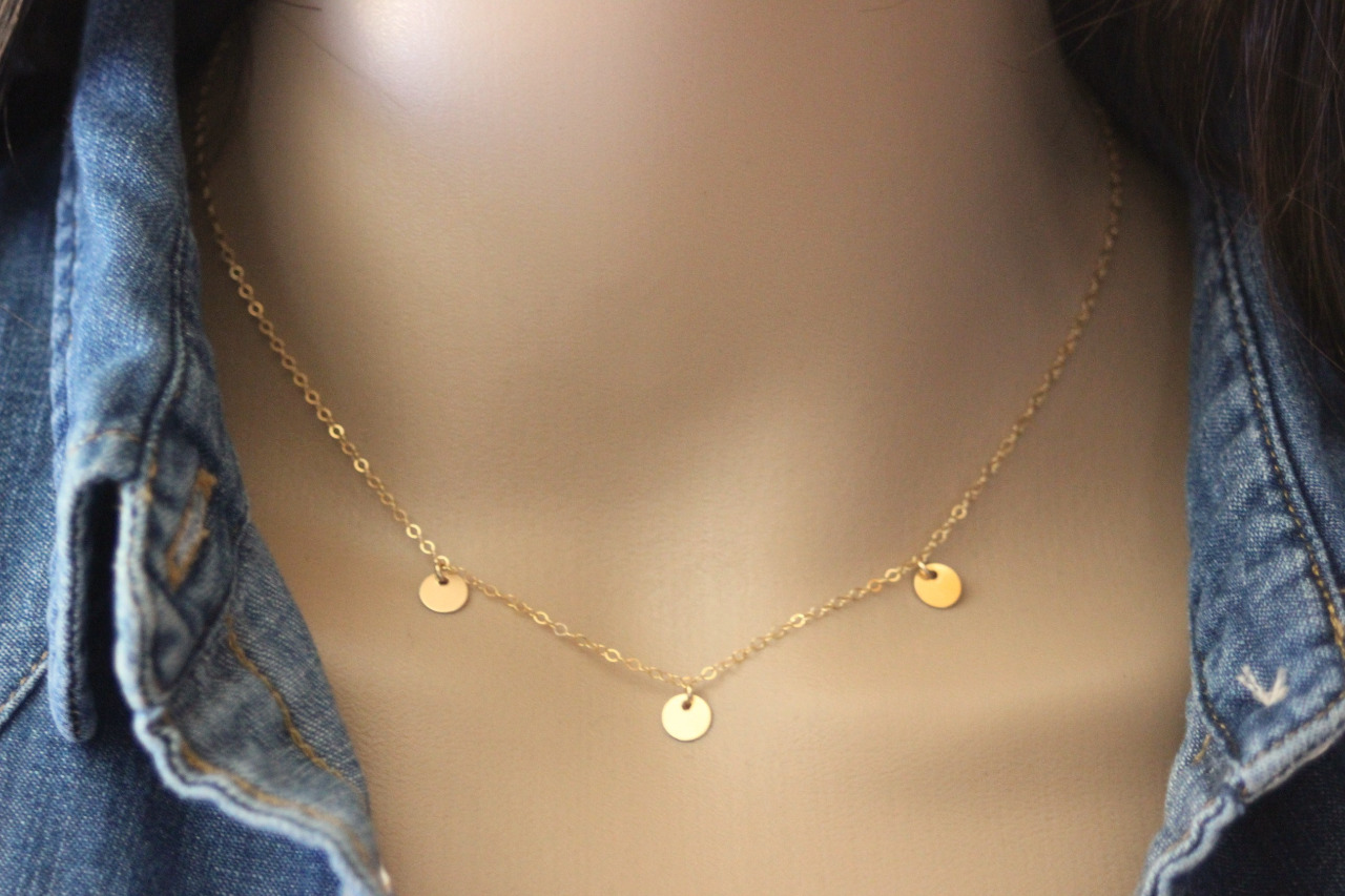 Collier or Gold Filled 3 petites médailles rondes