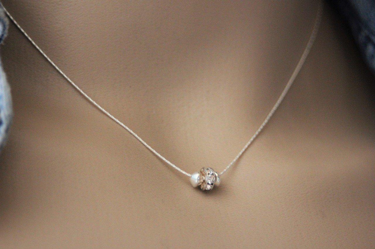 Collier argent massif rondelle strass en cristal Swarovski -  Emmafashionstyle