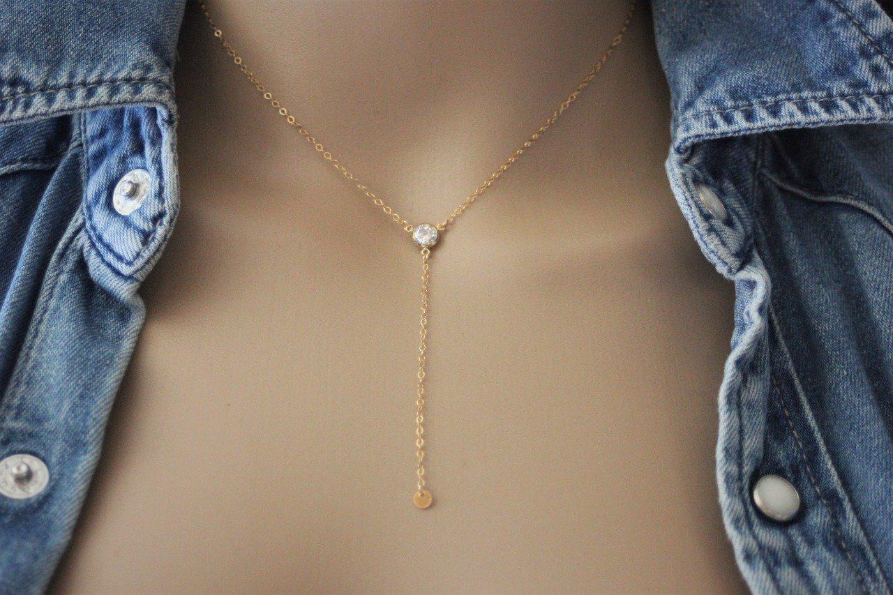 Collier cravate en or Gold Filled et zirconium