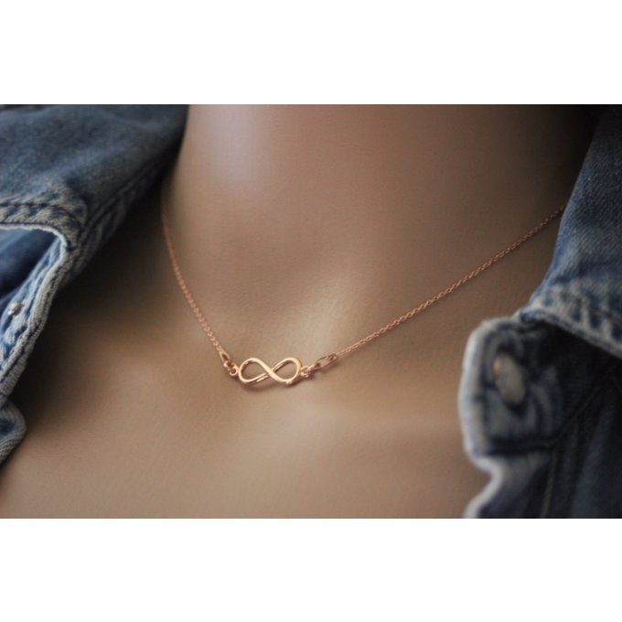 Collier infini or rose - collier infinity