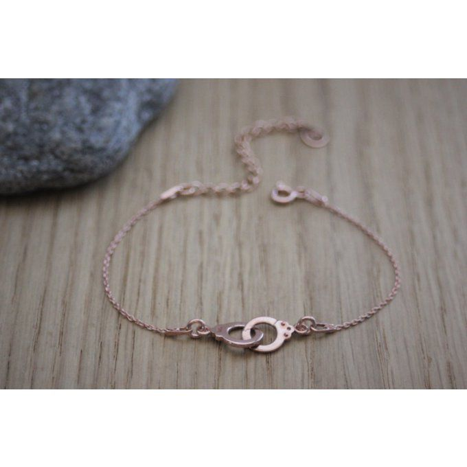 Bracelet menottes or rose - bracelet 50 nuances de grey