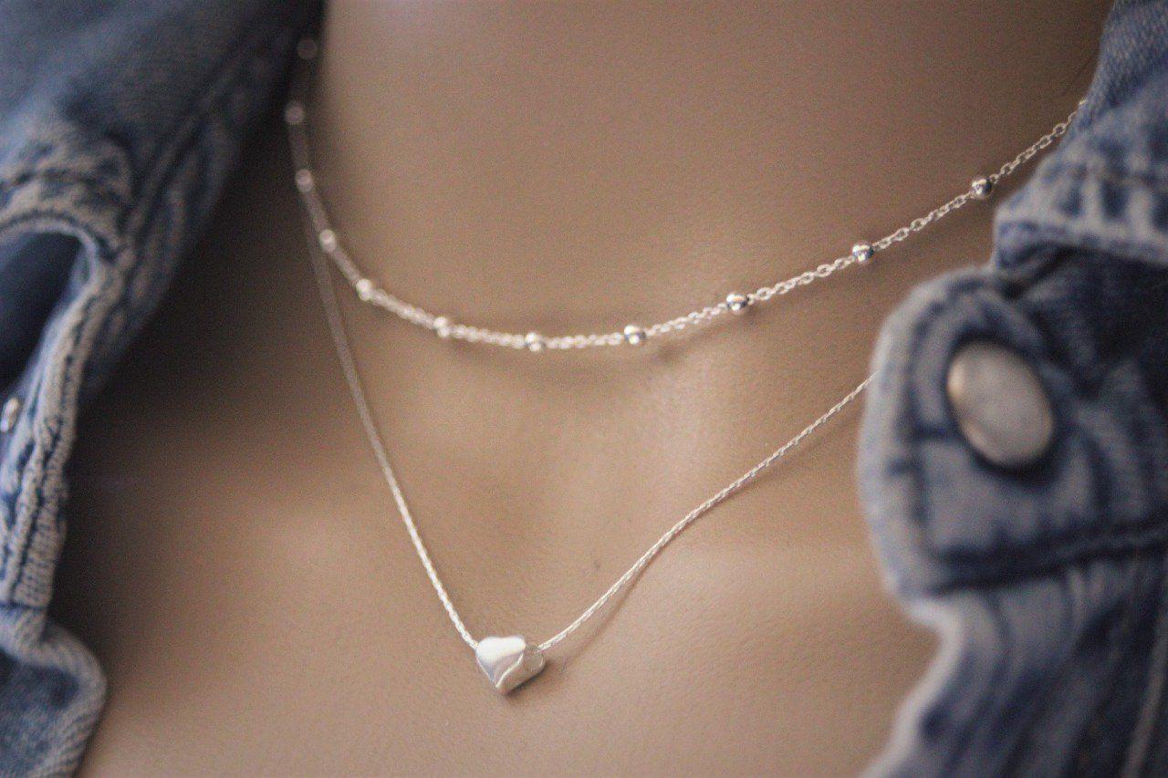 économies fantastiques profiter du prix le plus bas Nouvelle liste Collier argent massif double chaine et perle coeur - emmafashionstyle.fr