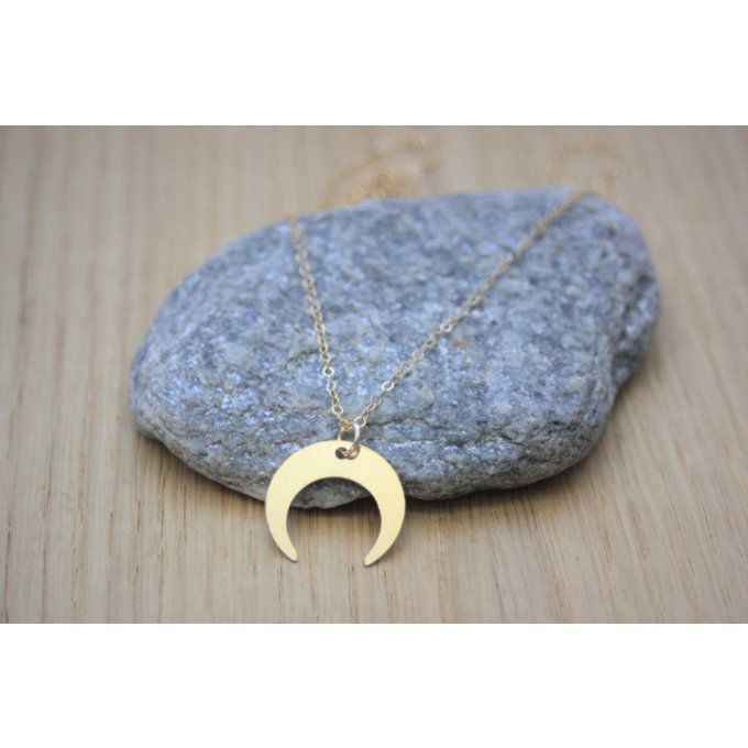 Collier corne demi-lune en or Gold Filled