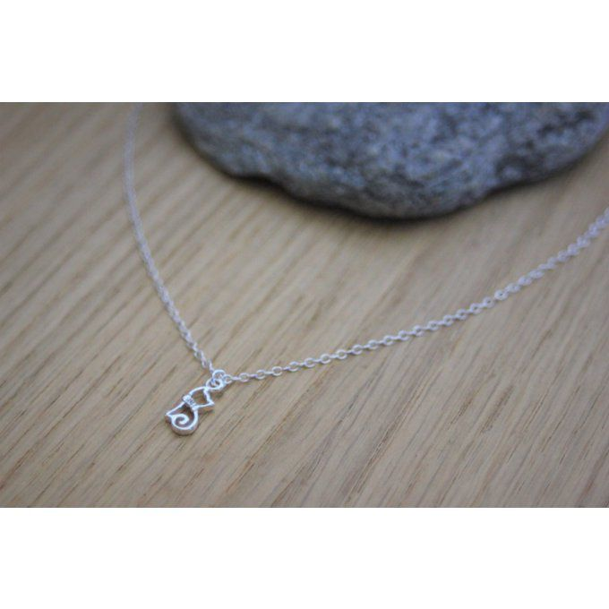 Collier argent massif pendentif chaton