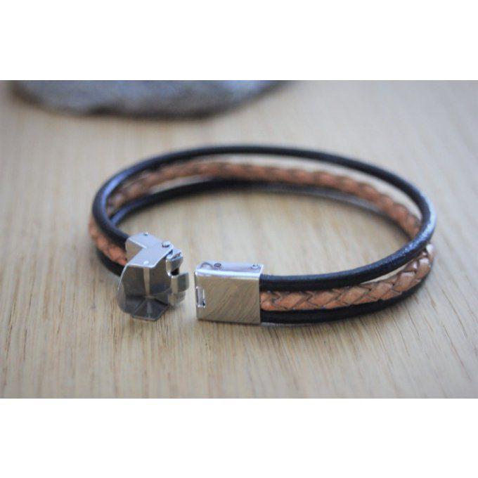 a7aa703f80622 Bracelet homme en cuir noir et cuir marron tressé fermoir acier