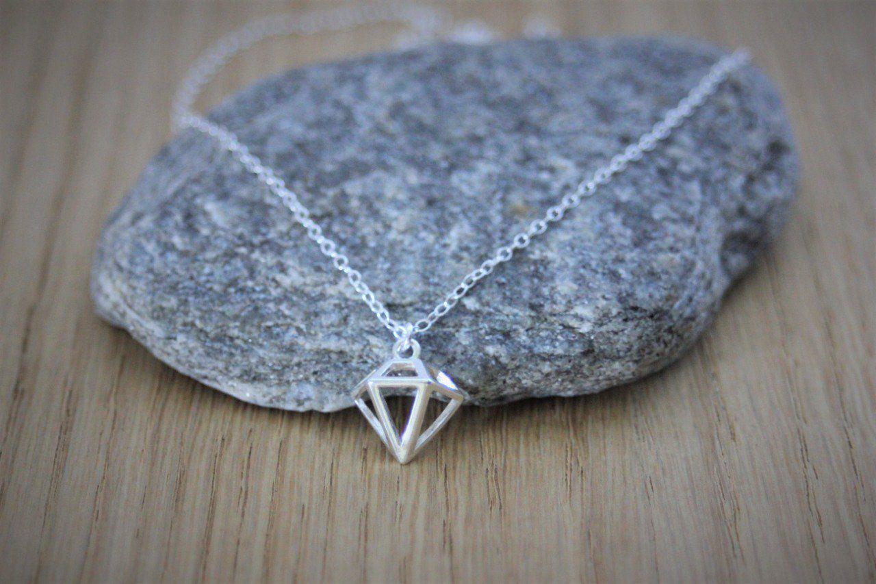 collier argent pendentif diamant