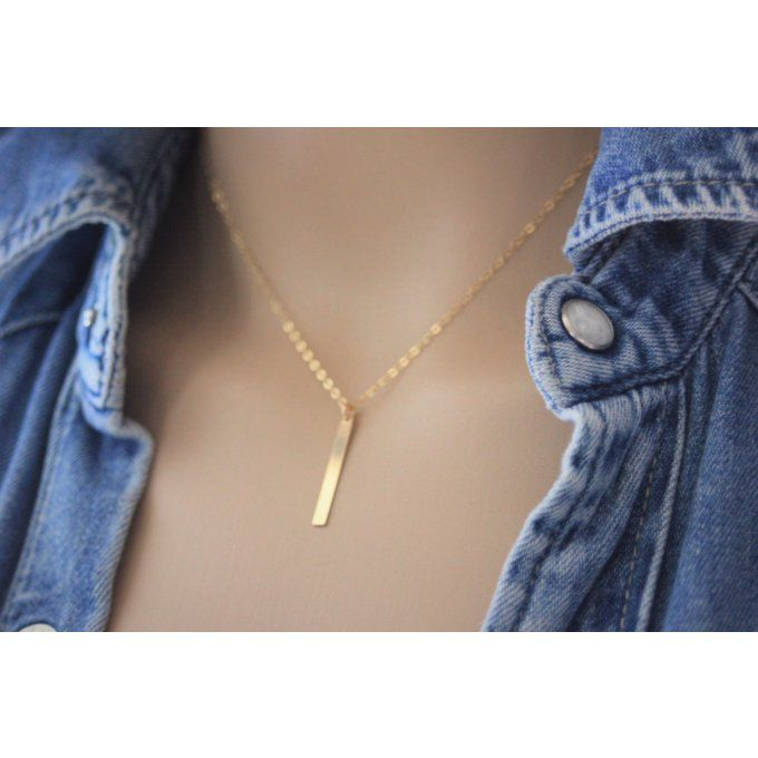 Collier en or Gold Filled pendentif rectangle
