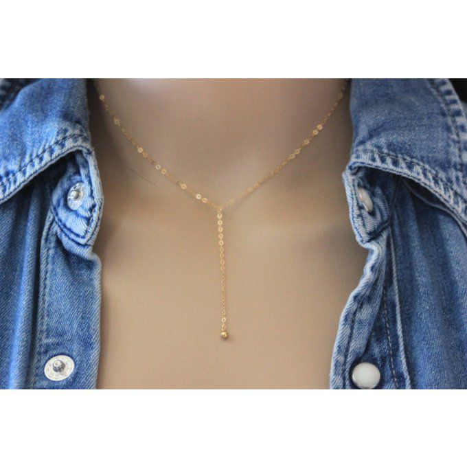 Collier cravate en or Gold Filled pendentif boule