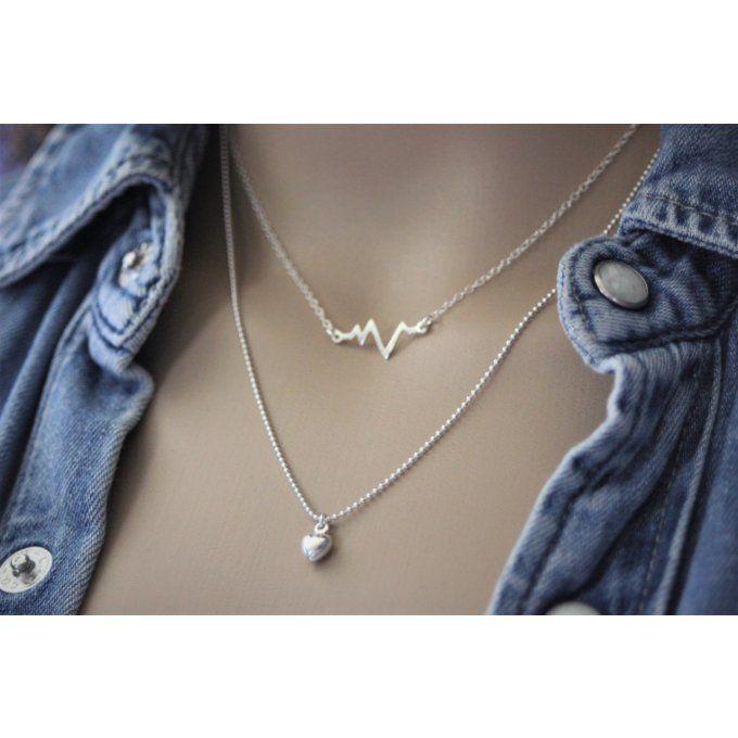 f10c1e421 Collier argent massif double chaine ondes cardiaques et pendentif coeur