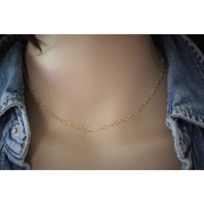 Collier en or Gold Filled chaine maille figaro